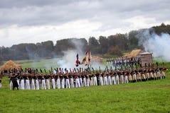 Historisk reenactment för Borodino strid i Ryssland Stridpanorama Arkivbilder