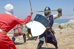 historisk reenactment för stridhattin Royaltyfri Bild