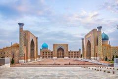 Historisk Registan fyrkant i Samarkend, Uzbekistan arkivfoton