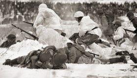 historisk rekonstruktion för militär ii kriger världen Fotografering för Bildbyråer