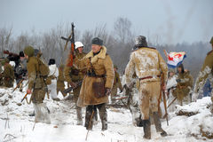 historisk rekonstruktion för militär ii kriger världen Royaltyfri Bild