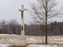 Historisk religiös monument och ett ungt träd Arkivbilder