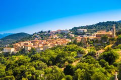 Historisk Sartene stad, Korsika, Frankrike, Europa royaltyfri fotografi