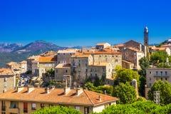 Historisk Sartene stad, Korsika, Frankrike, Europa arkivbilder