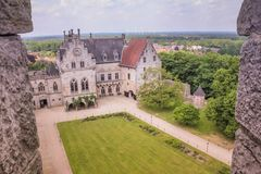 Historisk småstad Bentheim i den dåliga Bentheim Tyskland arkivfoto
