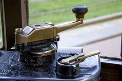Historisk spårvagn för inre detalj i milan Royaltyfri Bild