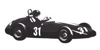 Historisk tävlings- bil, retro formel royaltyfri illustrationer