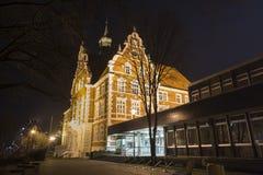 historisk townhall wanne-eickel i aftonen Arkivbilder