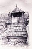 Historisk träklockstapel i bergwillagen, blyertspennateckning på papper Royaltyfri Foto