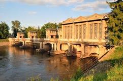 Historisk vattenkraftstation Podebrady Arkivfoto