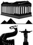 historisk vektor för byggnader stock illustrationer