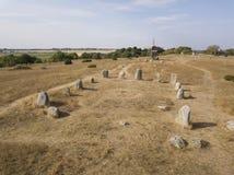 Historisk vikingkyrkogård royaltyfria bilder