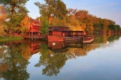 historisk watermill royaltyfria bilder