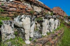 Historiska Autthaya parkerar wat för den forntida templet i Thailand Fotografering för Bildbyråer