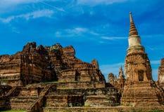 Historiska Autthaya parkerar wat för den forntida templet i Thailand Arkivfoton