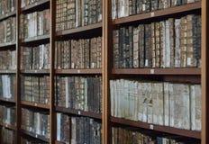 Historiska böcker från det 16th århundradet i Joanina Library Arkivbilder