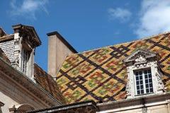 Historiska Bourgognetaktegelplattor i Dijon, Frankrike Royaltyfri Foto