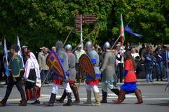 Historiska bulgariska armédräkter Royaltyfri Foto