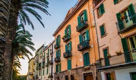 Historiska byggnader i Bosa, Oristano, Sardinia Royaltyfri Fotografi