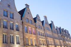 Historiska byggnader i den gamla staden av Muenster Royaltyfria Foton