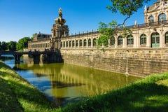 Historiska byggnader i Dresden, Tyskland Arkivbilder