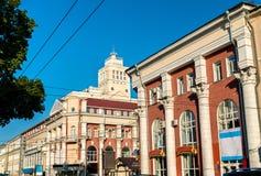 Historiska byggnader i stadsmitten av Voronezh, Ryssland arkivfoton