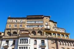 Historiska byggnader i Tarazona de Aragon, Saragossa, Spanien Fotografering för Bildbyråer