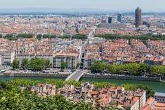 Historiska byggnader Lyon Frankrike Arkivbilder