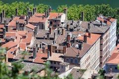 Historiska byggnader Lyon Frankrike Royaltyfria Foton