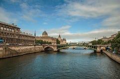 Historiska byggnader och bro på Seinet River i Paris Royaltyfria Bilder