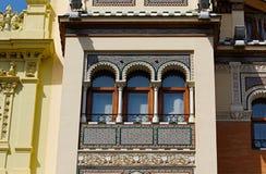 Historiska byggnader och monument av Seville, Spanien Spanska arkitektoniska stilar av gotiskt och Mudejar, barock Arkivfoto