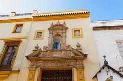 Historiska byggnader och monument av Seville, Spanien Spanska arkitektoniska stilar av gotiskt San Juan de la Palma Arkivfoto