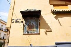Historiska byggnader och monument av Seville, Spanien Spanska arkitektoniska stilar av gotiskt San Juan de la Palma Arkivbilder
