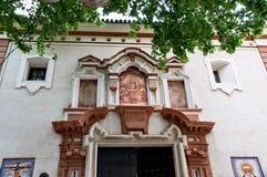 Historiska byggnader och monument av Seville, Spanien Spanska arkitektoniska stilar av gotiskt catalina santa Royaltyfri Fotografi