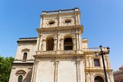 Historiska byggnader och monument av Seville, Spanien Spanska arkitektoniska stilar av gotiskt och Mudejar, barock Arkivfoton