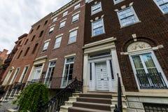 Historiska byggnader på älggatan i Albany, New York royaltyfria foton