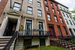 Historiska byggnader på älggatan i Albany, New York arkivfoto