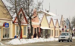 Historiska byggnader på den Zholudev gatan i Vawkavysk _ Royaltyfri Fotografi