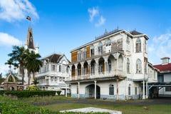 Historiska byggnader runt om Georgetown, Guyana Arkivbild