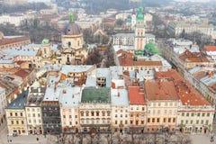Historiska centrala Lvov Arkivfoton