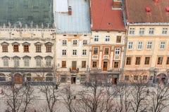 Historiska centrala Lvov Arkivbild