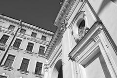 Historiska detaljer för arkitektur av kyrkan Arkivbild
