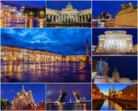 Historiska dragningar av St Petersburg Ryssland (collagestad på natten) Royaltyfria Foton