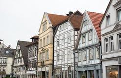 Historiska fasader i centret av Detmold Royaltyfri Foto
