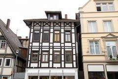 Historiska fasader i centret av Detmold Fotografering för Bildbyråer