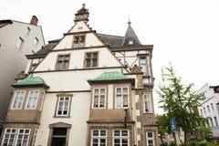 Historiska fasader i stadsmitten av staden av Detmold Royaltyfria Foton
