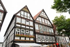 Historiska fasader i stadsmitten av staden av Detmold Royaltyfri Fotografi