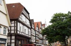 Historiska fasader i stadsmitten av staden av Detmold Royaltyfri Bild