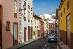 Historiska gator av La Orotava Arkivbilder
