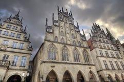 Historiska gavlar i Munster, Tyskland royaltyfri fotografi